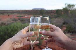 Champagne at sunset, dining under the stars at Sounds of Silence Restaurant, Ayers Rock, Jason K - November 2009