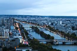 View of the Seine River from the second tier of the Eiffel Tower., Karen B - October 2010