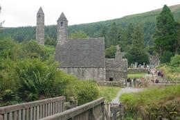 Both nature and history: St Kevin's Monastery at Glendalough, from the bridge to the 2 lakes, Kevin G - August 2009