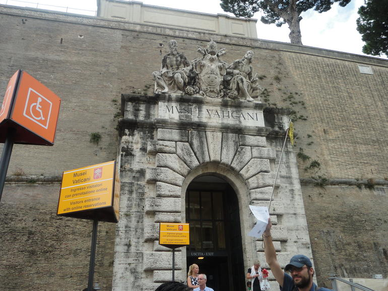 Entrance to the Vatican museums with our guide Alessandro.