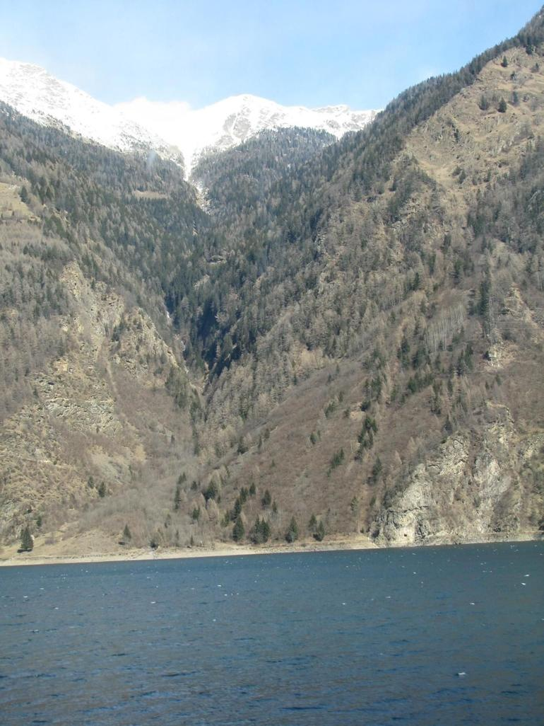 Bernina Expres photo - lake on the way up the Swiss Alps - Milan