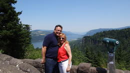 Looking the Columbia River Gorge from Portland Women's Forum State Scenic Viewpoint, also known as Chanticleer Point. , Jamira G - July 2013