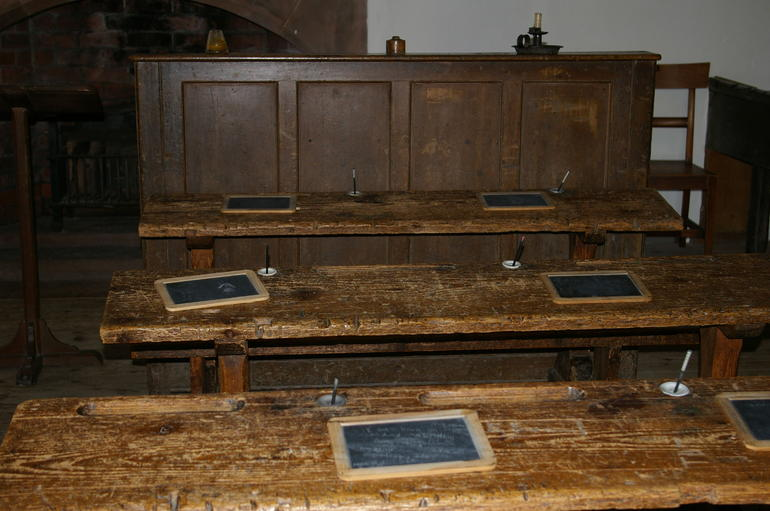 Desks in William Wordsworth's primary school - Windermere
