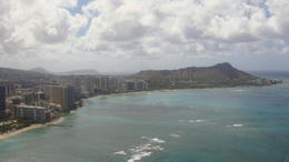 Start of the tour along Waikiki Beach with Diamond Head , Vicki H - July 2012
