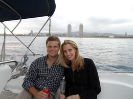 Enjoying drinks and the Barcelona skyline. , Ryan - September 2012