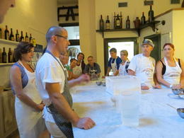 Giovanni, the chef, explaining all the steps we were going to do to prepare our pizzas. , Connie C - June 2012