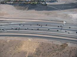 The cars look tiny from the balloon. - April 2010