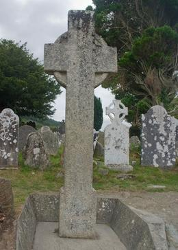 St Kevin's Celtic Cross. The round part is a vestige of a pagan symbol added to the cross., Kevin G - August 2009