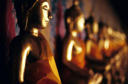 These Buddhas are part of the Wat Arun temple complex in Bangkok - better known as the Temple of the Dawn - June 2011