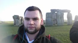 Posing in front of Stonehenge , Scyler G - January 2015