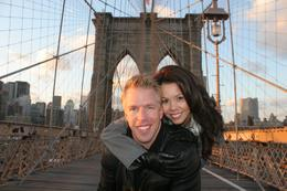 Me and my husband on the Brooklyn Bridge - December 2009