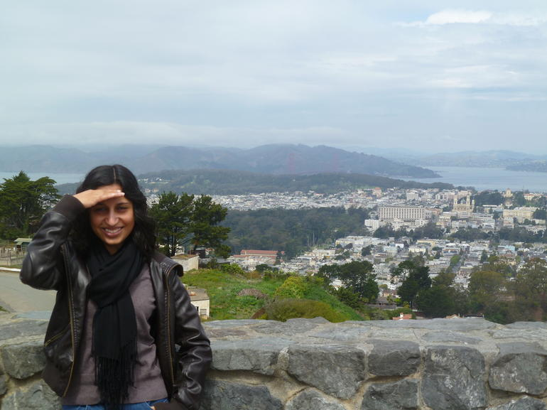 Me posing for a pic at the top of Twin Peaks.