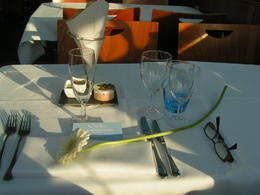 This was my dinner setting on the boat and is was a five course meal with champagne and wine. The food was excellent. , LYNN L - June 2011