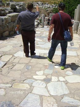 Our guide explaining to my husband about which stones were original and which stones were replacements and everything else along the way. , Lisa H - June 2015