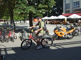 One of our party testing the bike before departure, , Clare B - September 2015