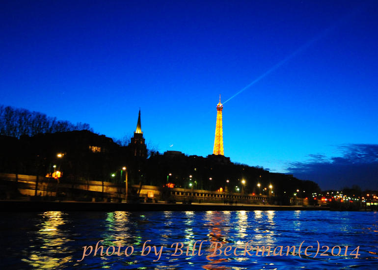 Eiffel Tower and New Moon at New Year 2014 captured on Seine River Cruise - Paris