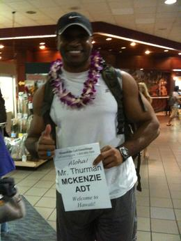 My lei and the greeting packet that I received with a map of Oahu and suggested sites and tours. , Thurman - August 2012