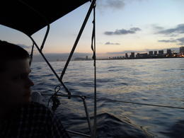 Photo of Barcelona Small-Group Mediterranean Sea Sailing Trip from Barcelona Skyline at sunset