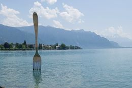 We had a few minutes in Vevey to get lunch. I walked over to see this fork and the Charlie Chaplain statue. , Stephanie G - June 2015