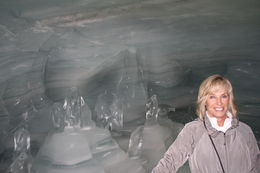 susan marra, taking a walk through the glacier viewing the ice carvings , susan m - August 2015