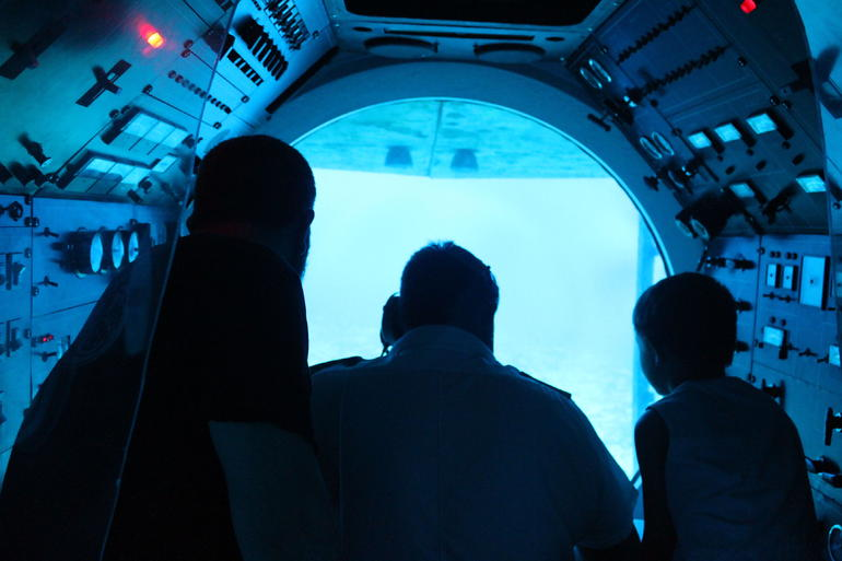 inside the submarine at 145 ft below the ocean - Aruba