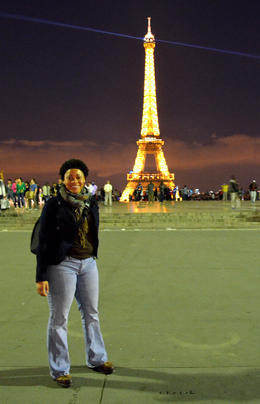 This is photo of me taken in front of the Eiffel Tower by my tour guide, Antoine. , Akeba - July 2013