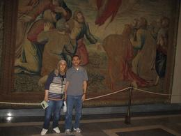My husband and I in front of a very brillient painting in Vatican Museum , Ghada M - September 2012
