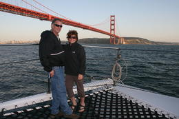The captain was nice enough to take this photo of us in front of the Golden Gate Bridge , Merrill W J W - April 2014