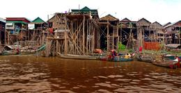 Village, near the Tonle Sap lake, on 6 meters stilts to prevent from flooding , C S - August 2012
