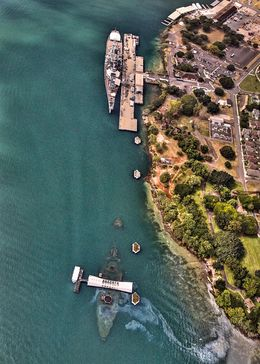 Rare shot of the USS Missouri and Arizona Memorial together where you can really see the Arizona. , Tom S - February 2016