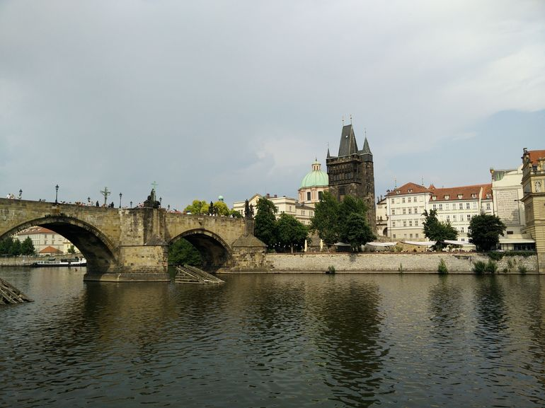 Charles bridge and tower from the Vlatva river.