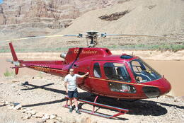 me and the helicopter we flew to the grand canyon , peter - September 2011