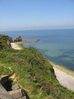 Perspective from the cliff tops of what US Rangers had to climb up on D-Day., Steven B - July 2009
