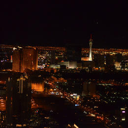 This was right after take off, great show of the Wynn and Encore with the Stratosphere in the background., World Traveler - April 2013