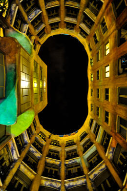 Photo of Barcelona Gaudí's La Pedrera at Night: A Behind-Closed-Doors Tour in Barcelona Courtyard looking up at the sky
