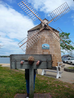 Anne is right where she belongs.....shackled....in front of the lovely Sag Harbour!! , Belinda Y - May 2013