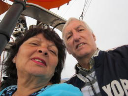 In the balloon 100's of feet up ! , Peter and Vanessa T - April 2014