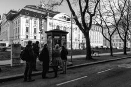 Tour guide about the kiosk where The Third Man disappeared into the sewer. , H.A. B - March 2013