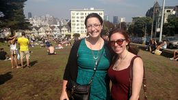 My friend and I on a windy day in SF at the Painted Ladies - August 2015