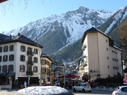 A view of the busy little ski town, Chamonix. Chambre Neuf (on the left), is where the group had lunch. , Kevin M - March 2014