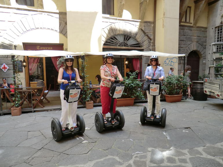 Arlene, Jean and Lynne all trained up and ready to go and see Florence on Segways!