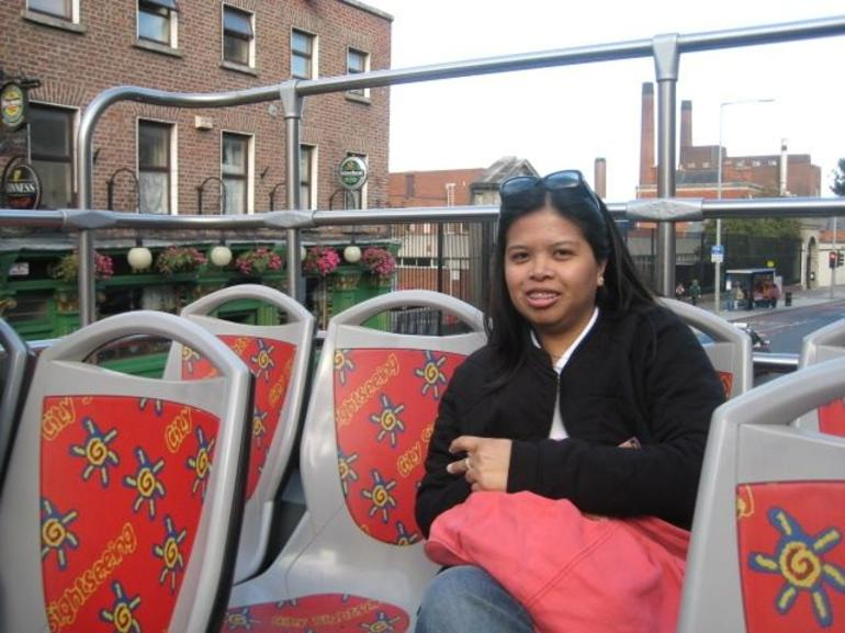 inside the double decker bus - Dublin