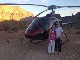 A picture by the helicopter once landed on The Grand Canyon , Stacey W - November 2013