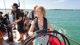 Photo of Auckland America's Cup Sailing on Auckland's Waitemata Harbour A Yacht in the hands of an ITU Nurse