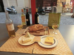 Our delicious wine and cheese tasting lunch. Very French! , Tony - December 2011