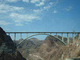 Taken from our tour bus of the bridge at Hoover Dam , Jessica - July 2013
