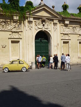 Photo of Rome Private Tour: Rome Sightseeing by Vintage Fiat 500 Outside the Knights of Malta Gate