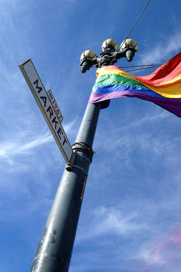 Rainbow flag in the Castro, Jules & Brock - July 2012