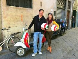 Posing pre-ride with our Italian flag coloured Vespa. , Fiona V - November 2014