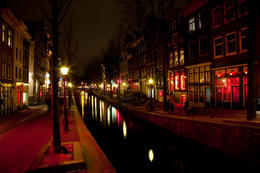 Photo of   Amsterdam Red Light District at night